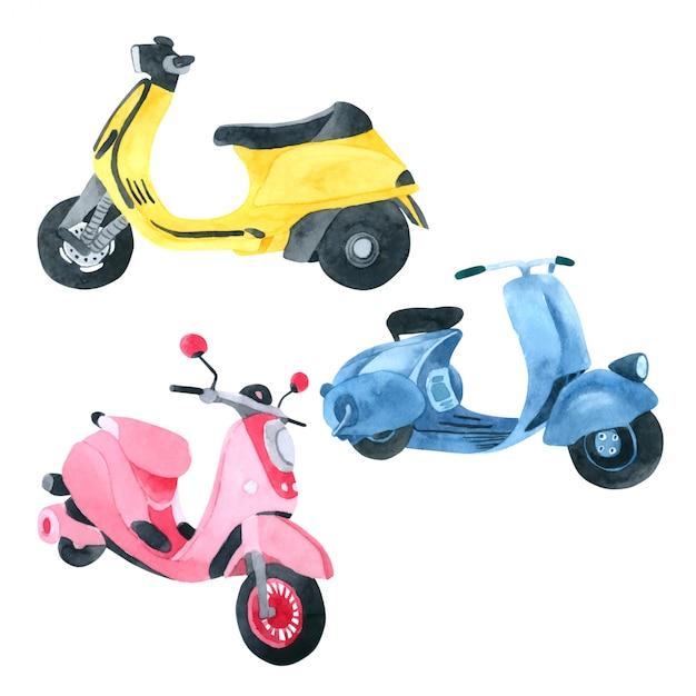 Vespa motorfiets aquarel collectie op witte achtergrond Premium Vector