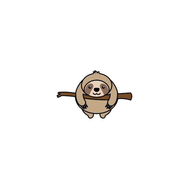 Vet luiaard op een tak cartoon icoon Premium Vector