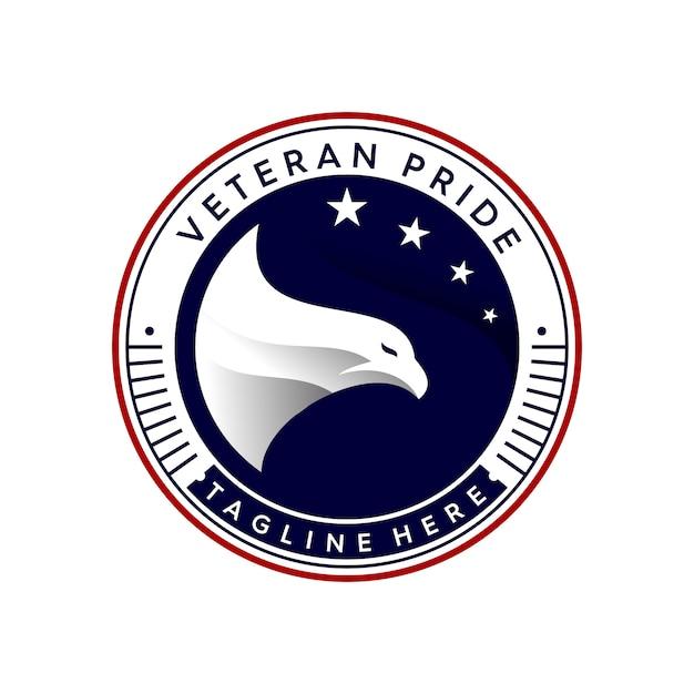 Veteraan trots logo sjabloon Premium Vector