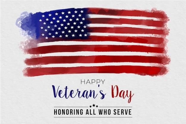Veteranendag met aquarel vlag Gratis Vector