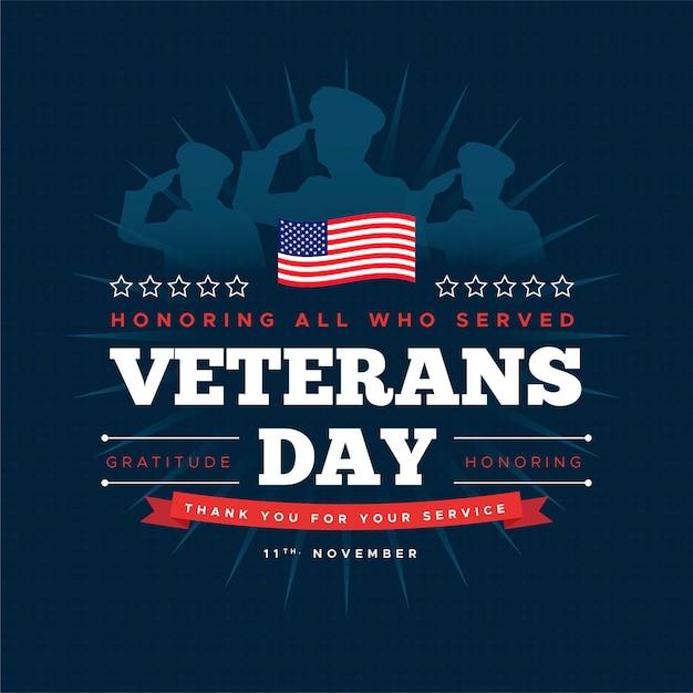 Veteranendag met soldaten en amerikaanse vlag Premium Vector