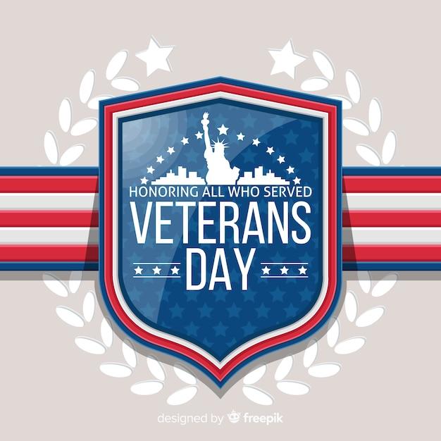 Veterans dag achtergrond met ons vlag elementen Gratis Vector