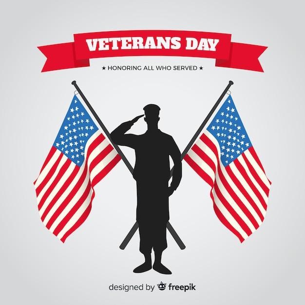 Veterans dag achtergrond met ons vlag Gratis Vector