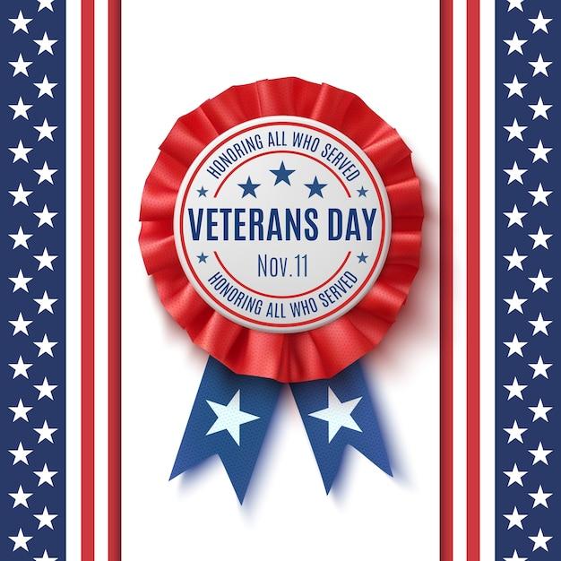 Veterans day-badge. realistisch, patriottisch, blauw en rood label met lint, op abstracte amerikaanse vlagachtergrond. poster, brochure of wenskaartsjabloon. illustratie. Premium Vector