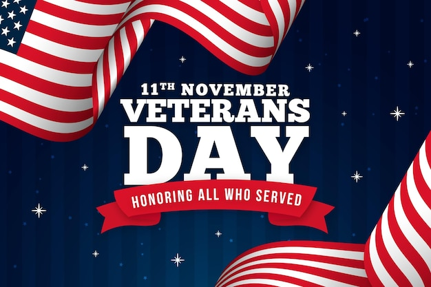 Veterans day tekst met amerikaanse vlag achtergrond Premium Vector