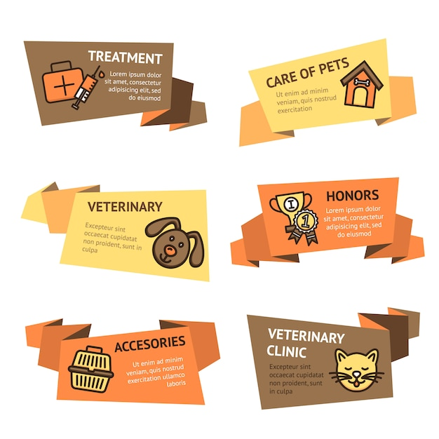 Veterinaire banner set Gratis Vector