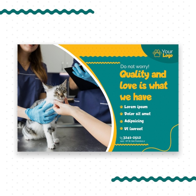 Veterinaire banner sjabloon thema Gratis Vector