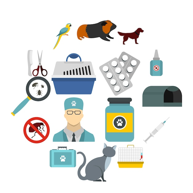 Veterinaire iconen set, vlakke stijl Premium Vector
