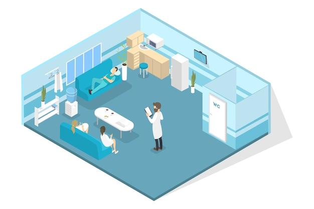 Veterinaire kliniek interieur met artsen die pauze hebben. dierlijke behandeling. isometrische illustratie Premium Vector