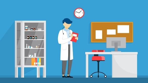 Veterinaire kliniek kamer interieur. dierlijke behandeling. dokter Premium Vector