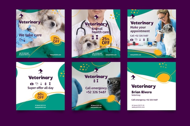 Veterinaire posts op sociale media Gratis Vector