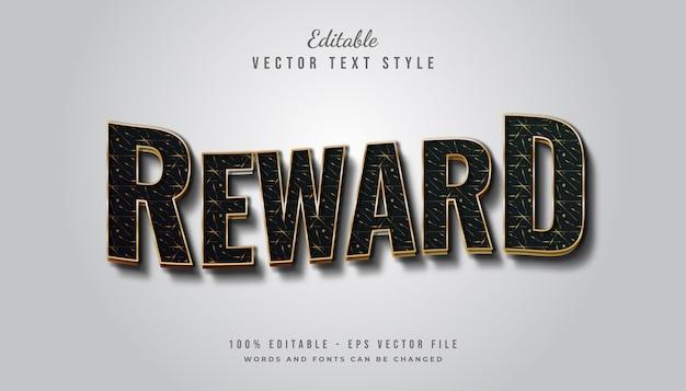Vetgedrukte beloningstekststijl in zwart en goud met textuur en golvend effect Premium Vector