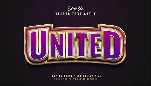 Vetgedrukte tekststijl in paars en goud met gebogen en reliëfeffect Premium Vector