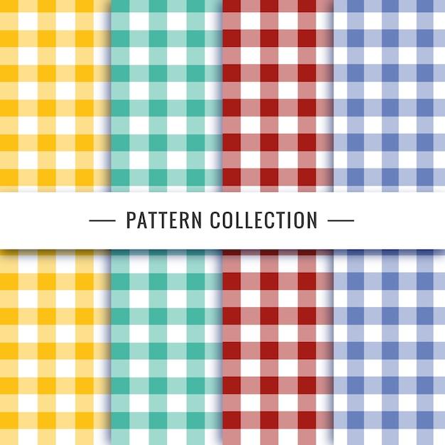 Vichy-patrooninzameling in verschillende kleuren Gratis Vector