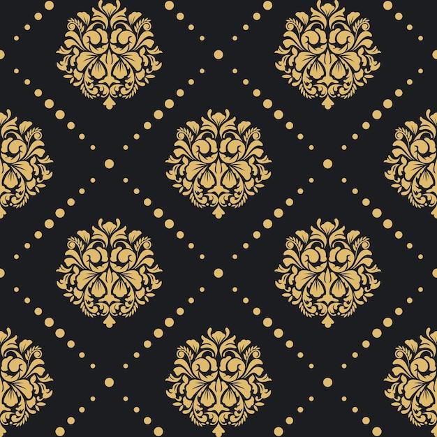 Victoriaans barok patroon. achtergrond retro ontwerp damaststijl. Gratis Vector
