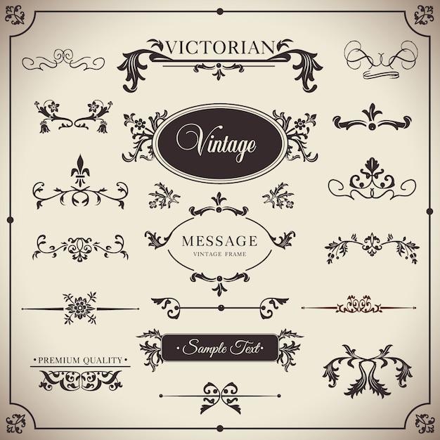 Victoriaanse sierontwerp kalligrafische elementen Gratis Vector
