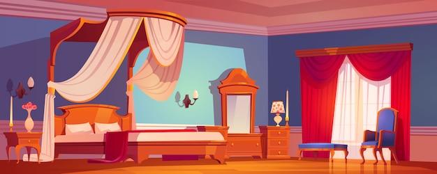 Victoriaanse slaapkamer, koninklijke interieur in de ochtend. Gratis Vector