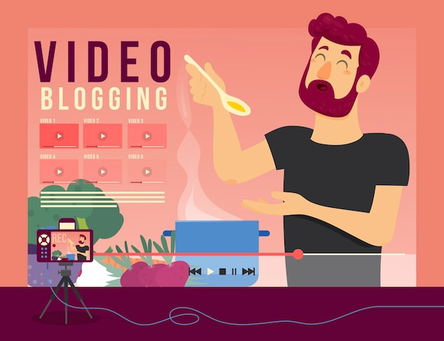 Video bloggen illustratie concept Gratis Vector