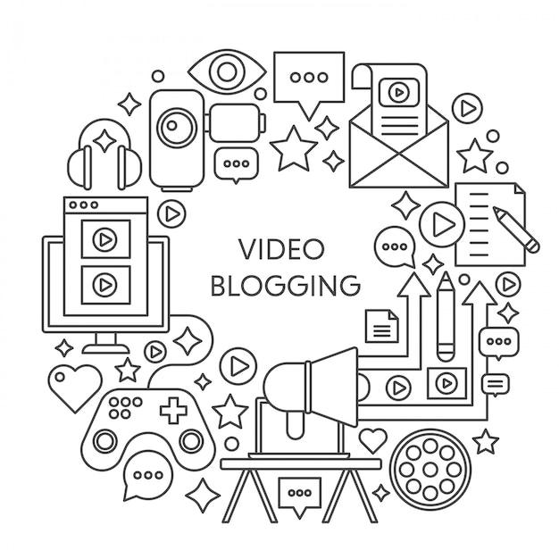 Video blogging dunne lijn vector concept samenstelling Premium Vector