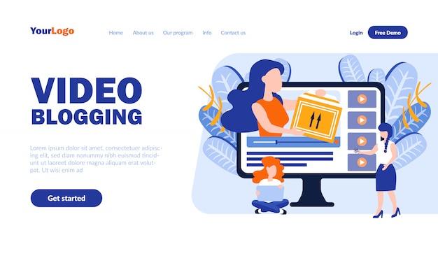 Video blogging vector bestemmingspagina sjabloon met koptekst Premium Vector