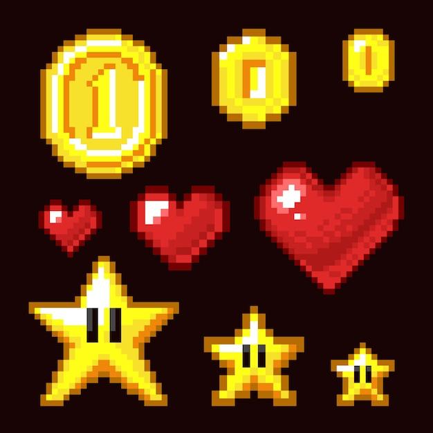 Video game 8 bit assets geïsoleerd, coin, star en heart pixel retro iconen in verschillende grootte Premium Vector
