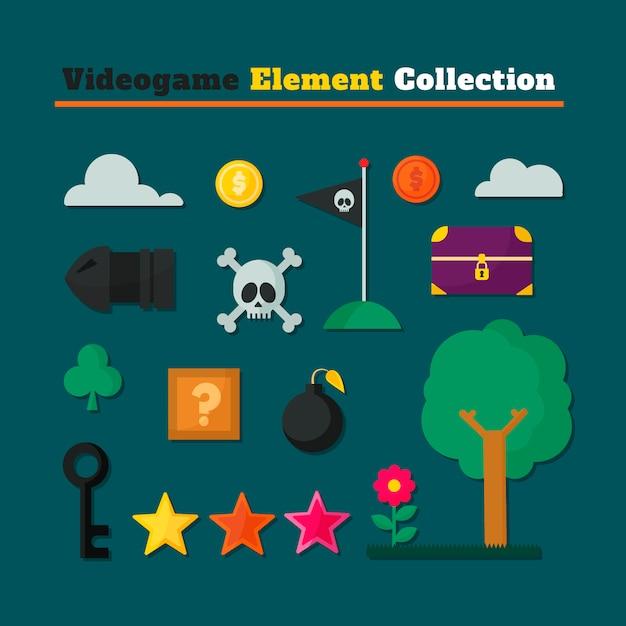 Video games collectie van verschillende elementen Gratis Vector