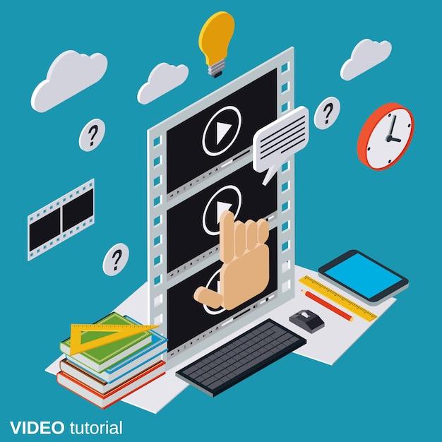 Video-instructies Premium Vector