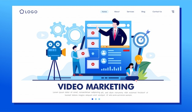 Video marketing bestemmingspagina website illustratie vector ontwerp Premium Vector
