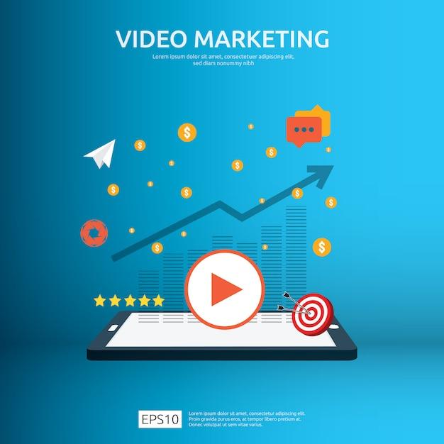 Video marketing concept met grafiek Premium Vector