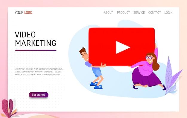 Video marketing concept Premium Vector