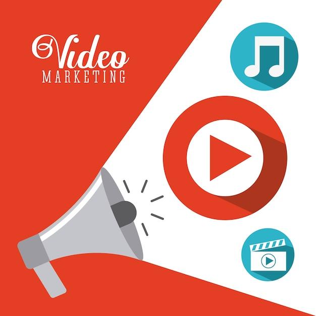 Video marketing ontwerp, vector grafische illustratie eps10 Premium Vector
