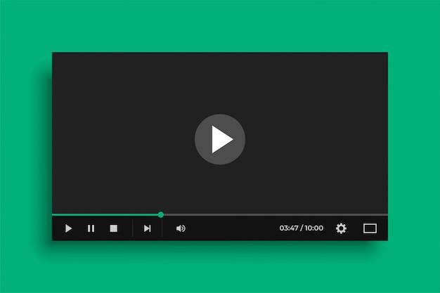 Video mediaspeler in platte zwarte stijl Gratis Vector