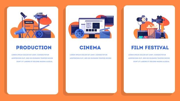 Video- of filmproductieconcept. idee van filmopnames, bioscoopindustrie. klepel en camera, apparatuur voor het maken van films. illustratie. webbanner ingesteld Premium Vector