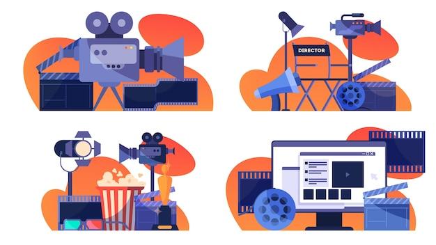 Video- of filmproductieconcept. idee van filmopnames, bioscoopindustrie. klepel en camera, apparatuur voor het maken van films. illustratie Premium Vector