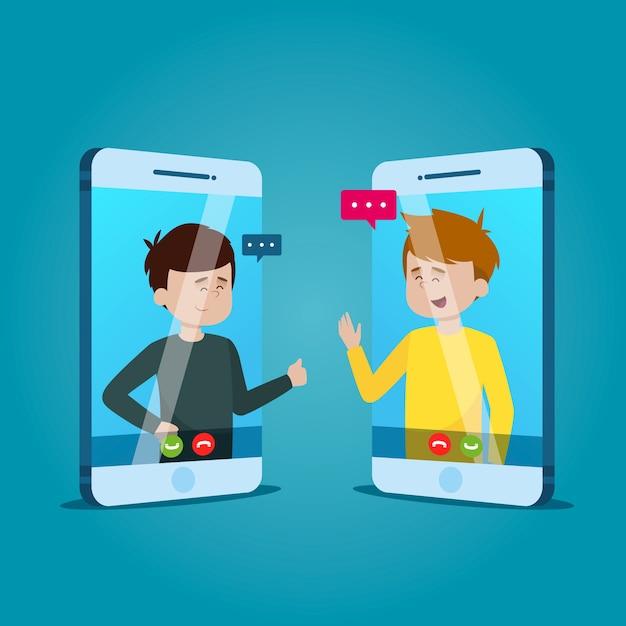 Video-oproep concept met mensen praten Gratis Vector