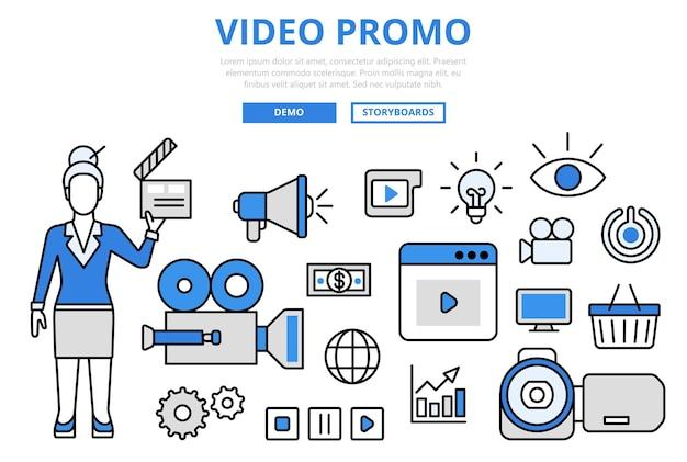 Video promo digitale marketing promotie technologie concept platte lijn kunst pictogrammen. Gratis Vector