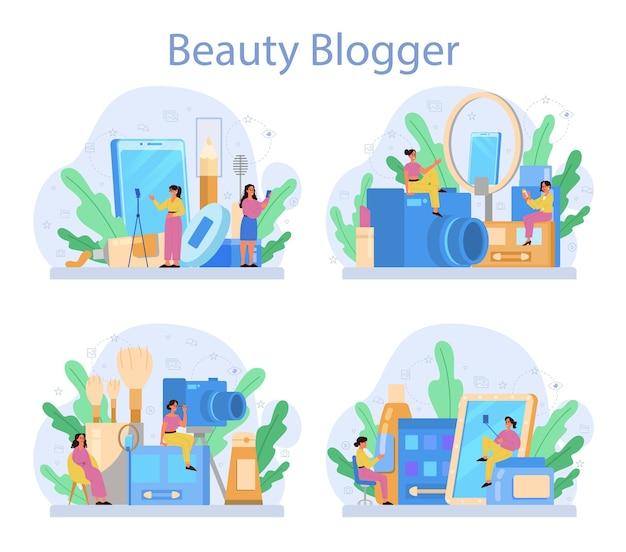 Video schoonheid blogger concept set. internetberoemdheid in sociaal netwerk. populaire vrouwelijke blogger die make-up doet. Premium Vector