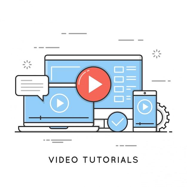 Video-tutorials, online training en leren, webinar, afstand Premium Vector