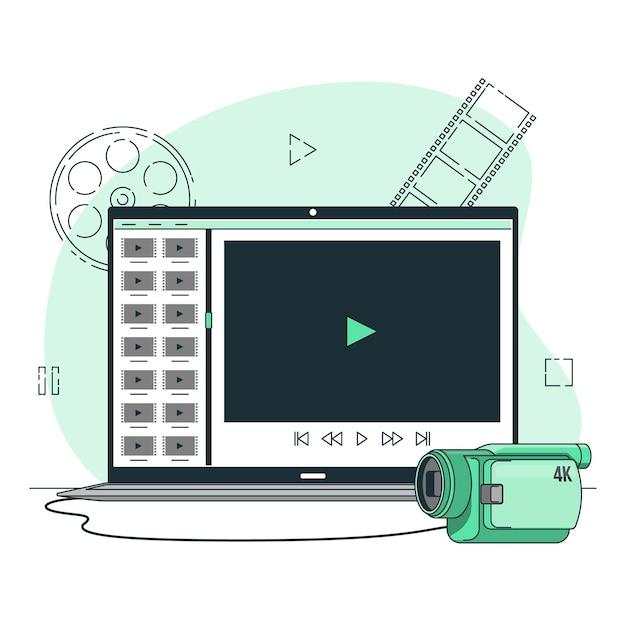 Videobestanden concept illustratie Gratis Vector