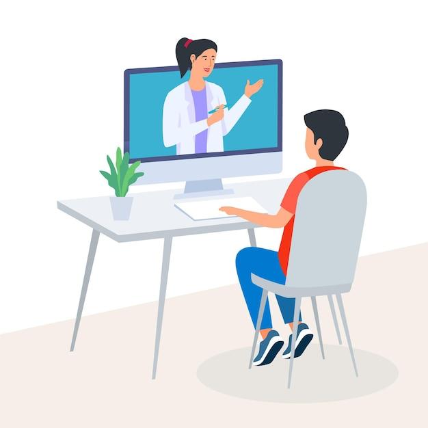 Videocalling met therapeut Gratis Vector