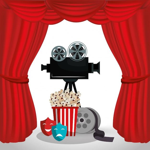 Videocamera bioscoop pictogrammen Premium Vector