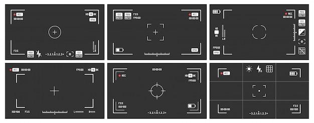 Videocamera zoekers. opname-weergaveframe, bioscooprec-weergavescherm en dslr cam-zoeker vector set Premium Vector