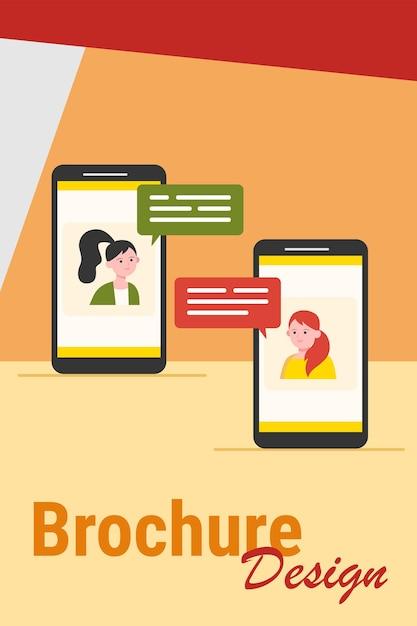 Videochat op de telefoon. meisjes met behulp van smartphones voor telefonische vergadering platte vectorillustratie. online communicatie, internettechnologieconcept Gratis Vector