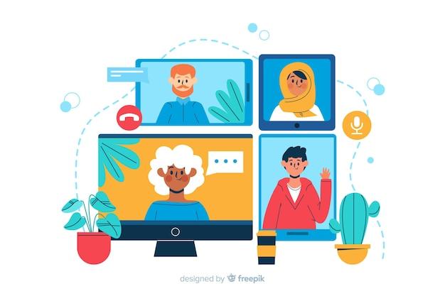 Videoconferentie-bestemmingspaginaillustratie Gratis Vector