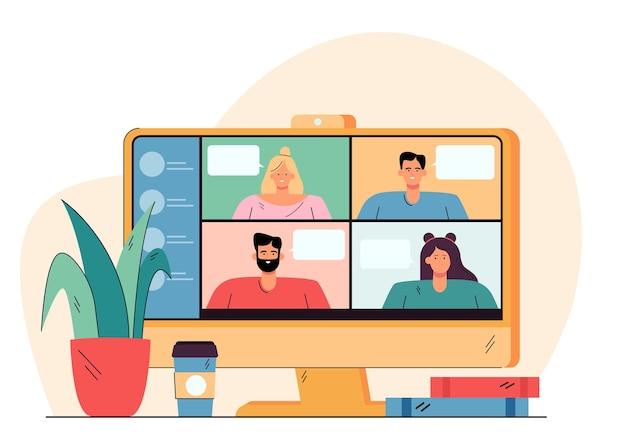 Videoconferentie met gelukkige mensen op de vlakke afbeelding van het bureaublad Gratis Vector