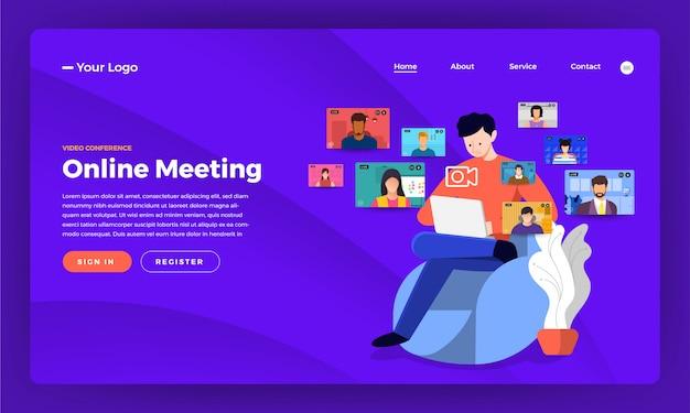 Videoconferentie Premium Vector