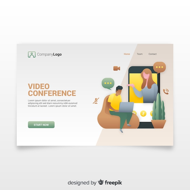 Videoconferentieconcept voor bestemmingspagina Gratis Vector