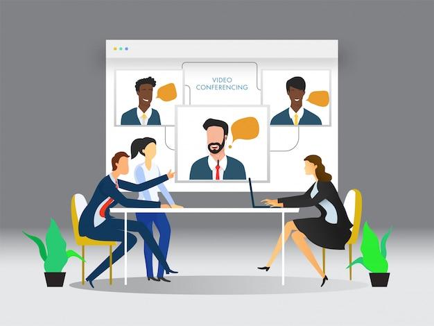 Videoconferentieconcept Premium Vector