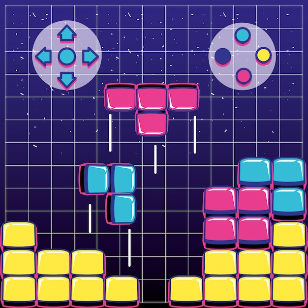 Videogame blokken met knoppen Premium Vector