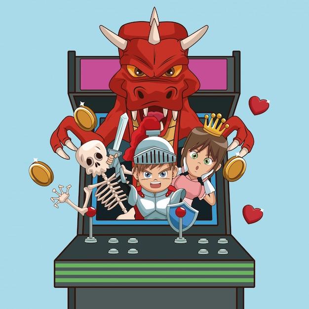 Videogames karakters cartoons op arcade Premium Vector
